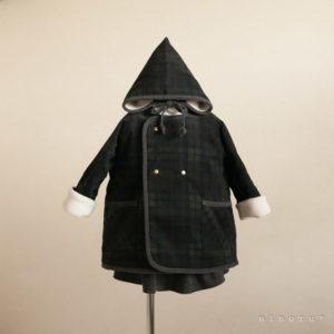 小人帽子とノーカラーコート ブラックウォッチ