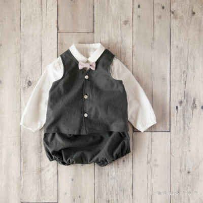 コットンリネン ベスト スーツ チャコール(70-110)