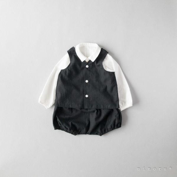 コットンリネン ベスト スーツ ブラック