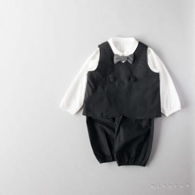 コットンリネン ラウンドベストスーツ ブラック