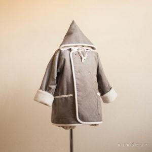 小人コートセット グレー(90/100)|小人帽子とノーカラーコートのセットアップ