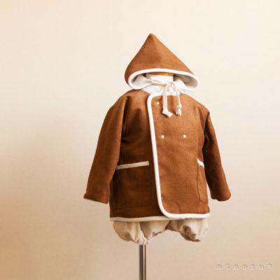 小人コートセット キャメル|小人帽子とノーカラーコートのセットアップ