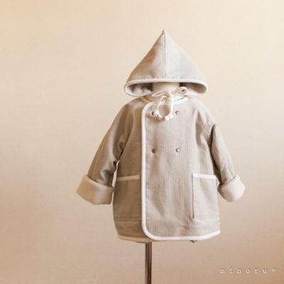 小人コートセット ライトグレー|小人帽子とノーカラーコートのセットアップ