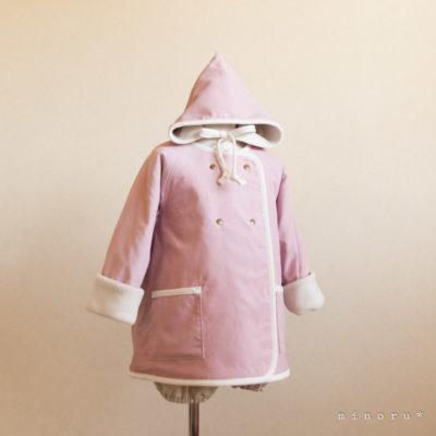 小人コートセット ダスティピンク (80/90/100/110)|小人帽子とノーカラーコートのセットアップ