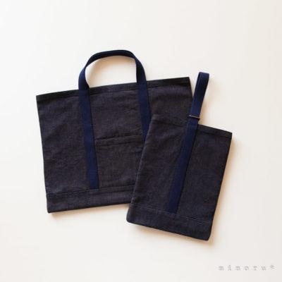 デニム トートバッグのような入園入学セット|手提げバッグ・シューズバッグ