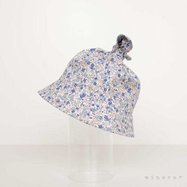 コットン 小花柄 リボンハット ブルー