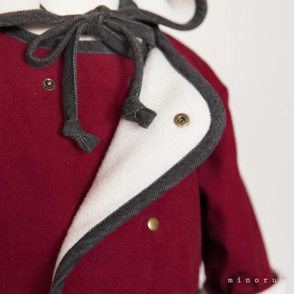 小人コート セット クラシカルレッド(80-110)|小人帽子とノーカラーコートのセットアップ