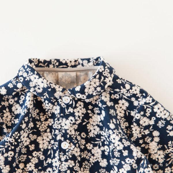 レトロな花柄 丸襟シャツ(80-110)