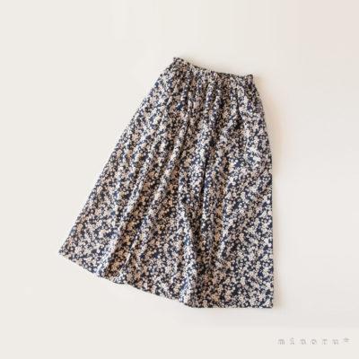 丈を選べるロングスカート コーデュロイ 花柄 ネイビー|セミオーダー リンクコーデ フレアスカート
