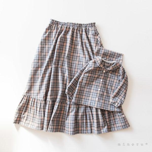 起毛コットン チェック グレー ティアードスカート