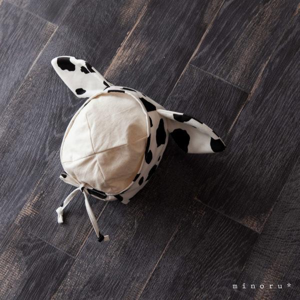 うしさんセット 牛柄|サロペット ロンパース、ボンネット|干支 丑 牛 年賀状