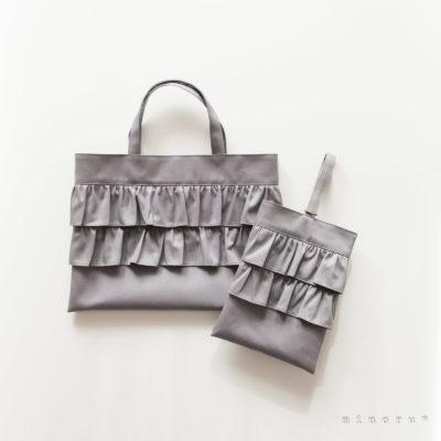 女の子のための 入園入学セット グレー|レッスンバッグ、シューズバッグ