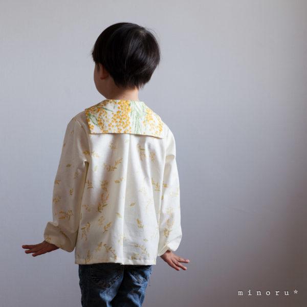 (半袖/長袖)コットンリネン ミモザ セーラーシャツ(80-120)