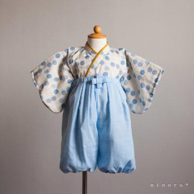 hakama 水玉xデニム(辛子)ブルー セパレート 80cm|kimono