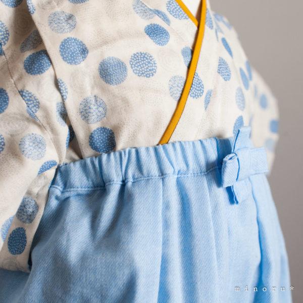 hakama 水玉xデニム(辛子)ブルー セパレート 80cm kimono