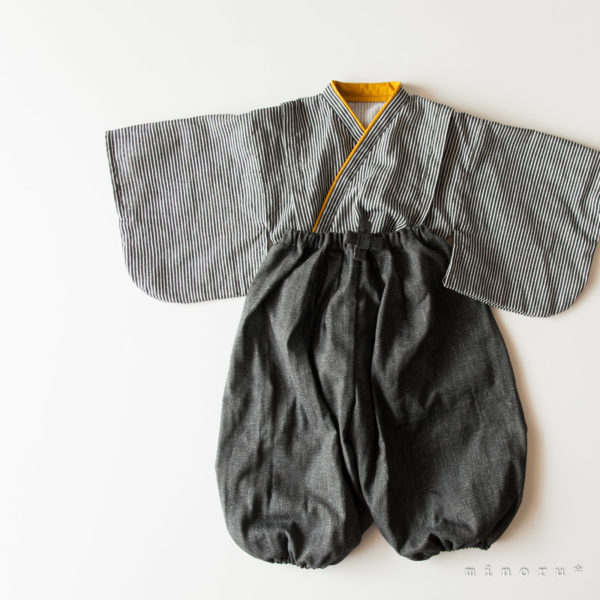 hakama ヒッコリーxデニム(辛子)ブラック セパレート 100cm|kimono