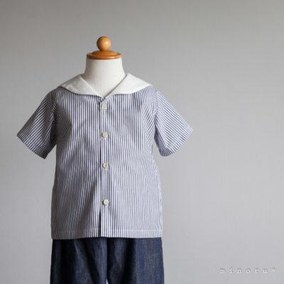 セーラーシャツ(80-120)|白襟 グレーストライプ