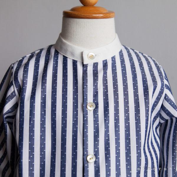 ドット模様 ストライプ バンドカラーシャツ(80-120)|クレリック