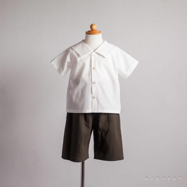 (半袖/長袖)セーラーシャツ オフホワイト(80-120)