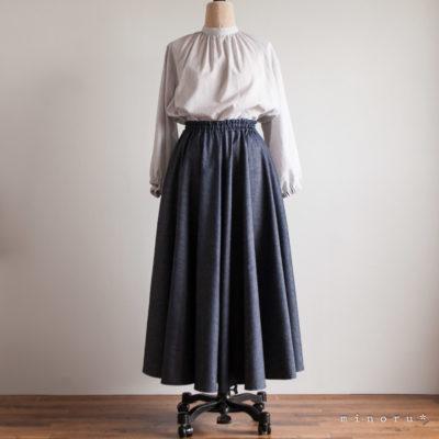 サーキュラースカート デニム インディゴ|ロングスカート お揃い リンクコーデ